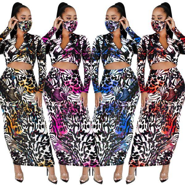 Women Fashion Long Sleeve Zipper Crop Top Printed Long Pantskirt 2pcs with Mask