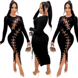Women Sexy Long Sleeve Hollow Out Eyelets Bandage Solid Color Bodycon Dress
