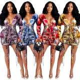 Sexy Women Tie-dyed Print Long Sleeve Bandage Backless Draped Bodycon Dress