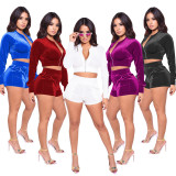 New Women Long Sleeves Solid Color Pleuche Zipper Pockets Short Jumpsuit 2pcs