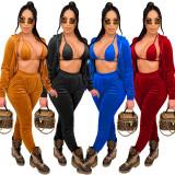 Women Solid Color Pleuche Lace Up Chest Wrap+Long Pants+Hooded Zipper Coat 3pcs