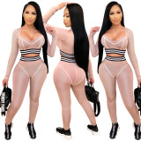 New Women Low-cut Long Sleeve Patchwork Casual Sporty Bodycon Jumpsuit 2pcs