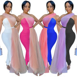 Sexy Women Sleeveless Mesh Patchwork Backless Bodycon Jumpsuit Casual Club Wear