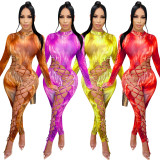New Women Sexy Long Sleeve Tie Dyed Print Hollow Out Bandage Bodycon Jumpsuit