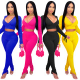 Women V Neck Long Sleeve Bandage Crop Top Solid Color Bodycon Slit Pants Set 2pc
