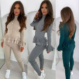 New Women Solid Color Long Sleeve Ruffled Top Skinny Pants Casual Rib Outfit 2pc