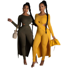 Women Sexy Long Sleeve Hollow Out Irregular Top Solid Color Skinny Pants Set 2pc