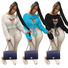 Women Sexy Solid Color Long Sleeve Open Front Bandage Casual Cropped Fleece