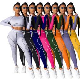 New Women Long Sleeve Crop Top Patchwork Casual Sport Yoga Bodycon Jumpsuit 2pcs