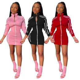 S-4XL Women Long Sleeve Solid Color Stripes Patchwork Zipper Short Pencil Dress