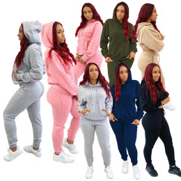 Autumn&Winter Women Hooded Long Sleeve Pockets Solid Color Casual Outfit 2pcs