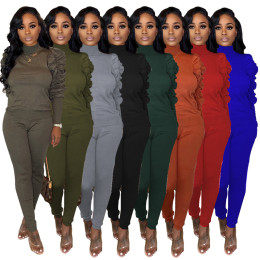 New Women Long Pleated Sleeve Solid Color Stylish Casual Long Pants Set 2pcs