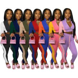 Women Fashion Long Sleeve Zipper Coat Color Block Bandage Casual Tracksuit 2pcs