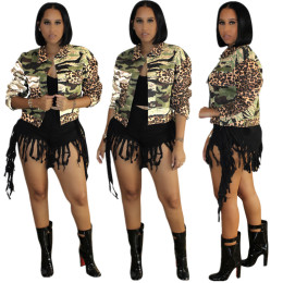 Women Fashion Turn-down Neck Long Sleeve Camouflage Leopard Print Buttons Jacket