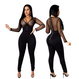 Women Sexy V Neck Long Sleeve Perspective Mesh Patchwork Zipper Bodycon Jumpsuit