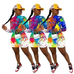 Women Sexy Long Sleeve Colorful Graffiti Print Backless Bodycon Mini Dress