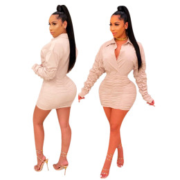 Women Turn-down Neck Long Sleeve Buttons Pleated Bodycon Solid Color Dress