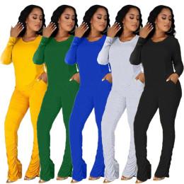 Women Round Neck Long Sleeve T-shirt Solid Color Pockets Draped Pants Set 2pcs