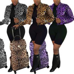 Women Fashion Turn-down Neck Long Sleeve Leopard Print Buttons PU Jacket Outwear