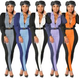 Women's Turn-down Neck Long Sleeve Zipper Color Block Bodycon Jumpsuit NO BELT