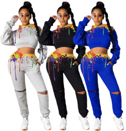Women Fashion Hooded Long Sleeve Zipper Splash-ink Print Pockets Outfits 2pcs