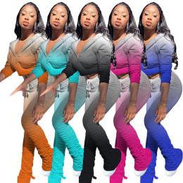 Women Hoolded Long Sleeve Zipper Coat Gradient Print Casual Draped Pants Set 2pc