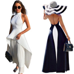 Women Sexy Halter Sleeveless Backless Chiffon Patchwork Pleated Party Dress