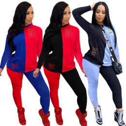 Women Fashion Color Block Long Sleeve Burn Out T-shirt+Long Pants Casual Outfits