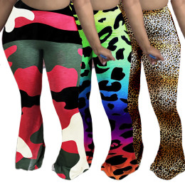 Fashion Women Elastic Waist Printed Skinny Casual Club Long Boot-cut Pants S-4XL