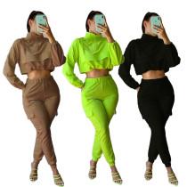 New Women Solid Color Long Sleeve Zipper Pockets Casual Fashion Jumpsuit 2pcs