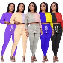 Women Long Sleeve Color Block Crop Top Bandage Long Pants Set Casual Outfits 2pc