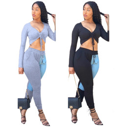 Women V Neck Long Sleeve Drawstring Crop Top Patchwork Pockets Skinny Pants Set