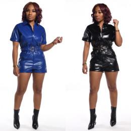 Women Fashion Turn-down Neck Short Sleeve Zipper Belted Pocket Solid PU Jumpsuit