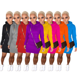 Women Fashion Hooded Long Sleeve Solid Color Pocket Brushed Casual Short Dress
