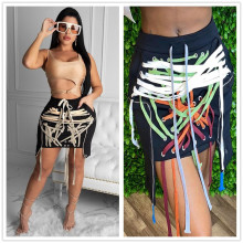 New Women Solid Color Eyelets Ribbons Patchwork Casual Irregular Mini Skirt