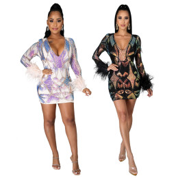 Women Sexy V Neck Long Sleeve Sequins Feather Patchwork Bodycon Dress