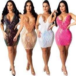 Women Sexy Spaghetti Strap V Neck Tassels Sequins Backless Mini Bodycon Dress