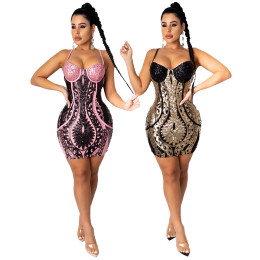Women Sexy Spaghetti Strap Sequins Backless Zipper Club Party Mini Bodycon Dress