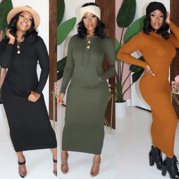 New Women Hooded Long Sleeve Big Pocket Solid Color Rib Bodycon Casual Dress