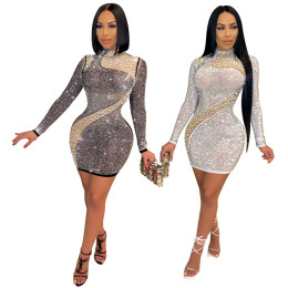 Women Fashion Long Sleeves Rhinestone Beading Party Club Short Bodycon Dress