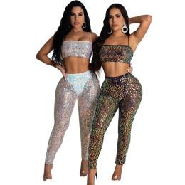 Women Sexy Spaghetti Strap Crop Top Sequins Club Party Long Pants Set 2pcs
