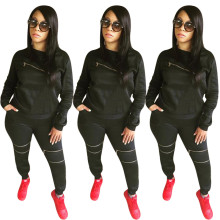 Fashion Women Long Sleeve Solid Color Zipper Pockets Casual Long Outfits 2pcs