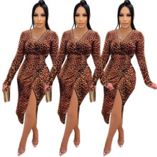 Women Sexy V Neck Long Sleeve Leopard Print Slit Irregular Casual Club Dress