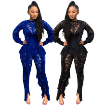 Women Sexy Long Sleeve Solid Color Lace Perspective Ruffled Bodycon Jumpsuit