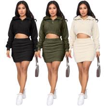 Women Hooded Long Sleeve Zipper Pockets Winter Solid Fluffy Short Skirt Set
