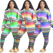 Women Fashion Hooded Long Sleeve Colorful Stripe Print Casual Outfits 2pcs