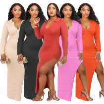 Women Sexy Turn-down Collar V Neck Long Sleeve Solid Color High Slit Dress