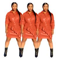 Women Solid PU Turn-down Neck Long Sleeve Buttons Shirt+Ruffled Skirt Set 2pcs