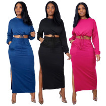 Women Long Sleeve Bandage Crop Top Solid Color Pockets Side Slit Skirt Set 2pcs