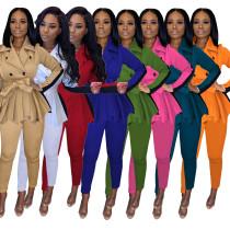Women Tailored Neck Long Sleeve Color Block Buttons Belt Coat+Long Pants 2pcs